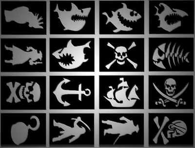 32 x Pirate Glitter Tattoo stencils, great for pirate parties