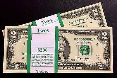 (1) Uncirculated Two Dollar Bill, Crisp $2 Note, consecutive Order Up To 10