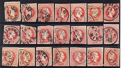 AUSTRIA = 1870`s 5 kr Red Postal Stationary cut-outs. (21) Various cancels. (d)