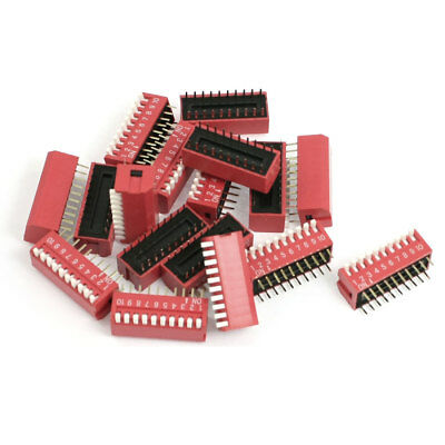 17 Pcs 2.54mm Pitch 10 Positions Slide Type DIP Switch Red