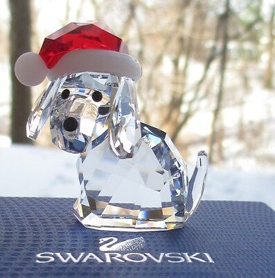 SWAROVSKI Crystal Christmas Dog with Santa's Hat Figurine Mint & New in Box