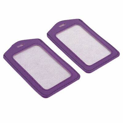 2 Pcs Purple Faux Leather Clear Plastic Work Badge Card Holder