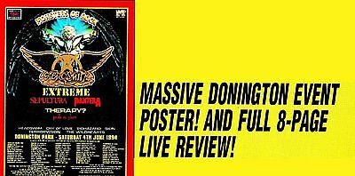 Aerosmith live Donington 1994 magazine pull-out 8 pages + large fold out poster