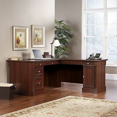 Wood Corner L-Shaped Executive Computer Desk Office Workstation Table Furniture
