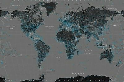 POLITICAL WORLD MAP (LAMINATED) POSTER (61x91cm) CONTEMPORARY BLACK BLUE & GREY