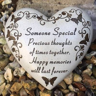 New Heart Scroll Stone Grave Graveside or Garden Memorial Plaque SOMEONE SPECIAL