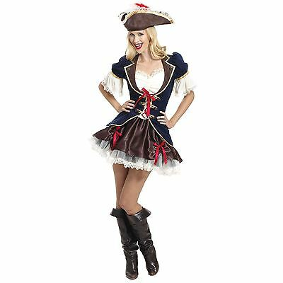 Ladies Sexy Deluxe Steampunk Mad Pirate Renaissance Fancy Dress Costume Outfit