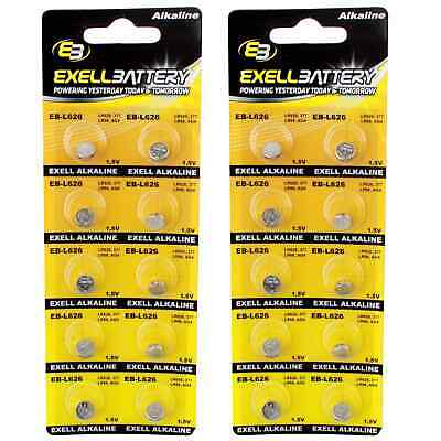 2pc 10pk Exell EB-L626 Alkaline 1.5V Watch Battery Replaces AG4 377