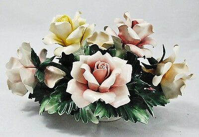 Vintage Capodimonte Made Italy Floral Basket of Pink and Yellow Roses Crown N