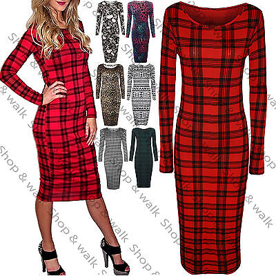 New Womens Ladies Tartan Check Print Long Sleeves Bodycon Midi Dress Plus Size