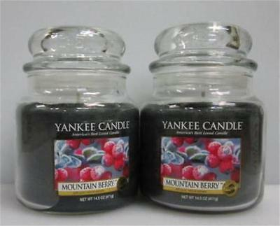 MOUNTAIN BERRY Yankee Candle 14.5 oz Medium Jars  LOT of 2