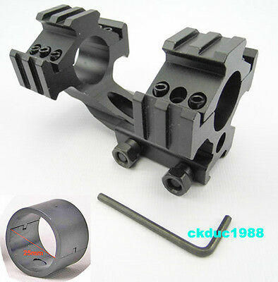 "New Tri-Rail Cantilever 20mm Rail Mount Dual 30mm & 1"" 25mm Ring For Scope/Rifle"