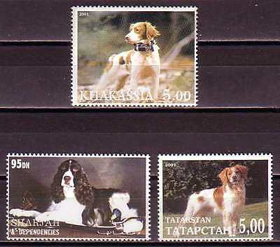 Brittany English Spaniel Dogs 3 different MNH stamps BREN03