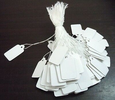 100/200/500 x White Strung Jewellery Tie on Label Price Tags - 23mm - lady-muck1