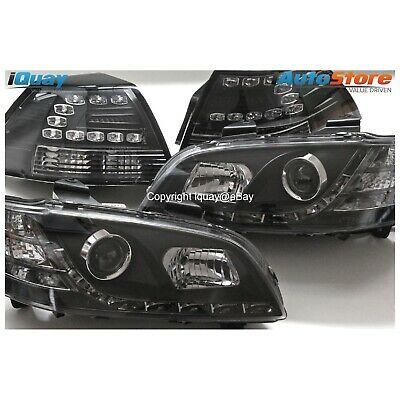 Holden VE Commodore/HSV Altezza Projector HeadLights & Tail Lights LED DRL BLACK