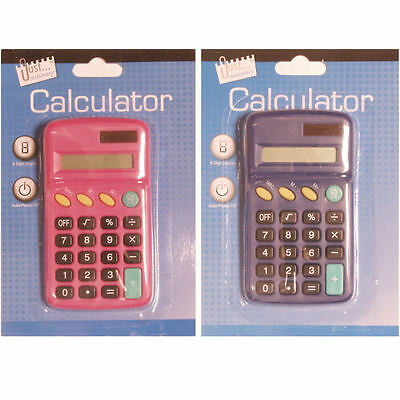 Dual Powered Kids School Maths Student Pocket Calculator in 2 Colours