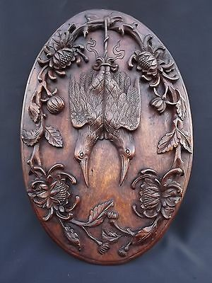 French Antique Black Forest Hunt Theme Wall Plaque Mahogany Two Birds Flowers