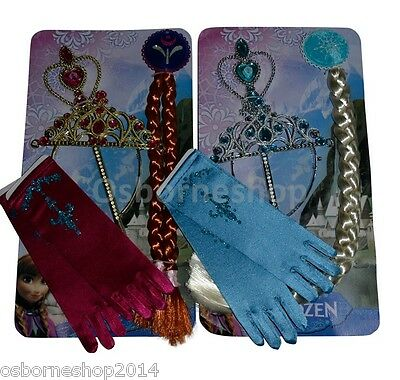 Frozen Queen Elsa Anna Girls Tiara Crown Hair Gloves & Wand Accessories Set 4 PC
