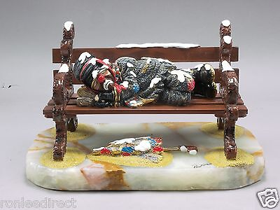 Snow Drifter On Bench Hobo Clown Sculpture  Direct From Ron Lee