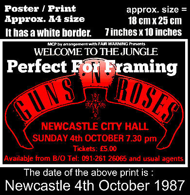 Guns N Roses live concert at Newcastle 4th of October 1987 A4 size poster print