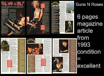 Guns N Roses Axl Rose Slash 1993 6 pages magazine article from England