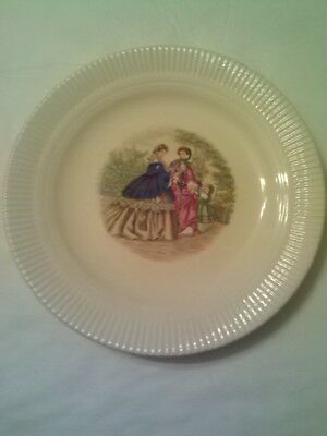 Salem China - Godey Prints - Women & Child - Made In Usa - Cream Color