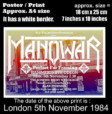 Manowar live Hammersmith Odeon London 5th of November 1984 A4 size poster print