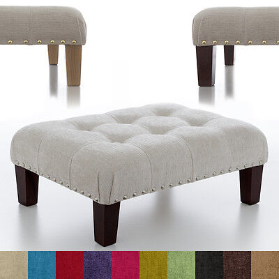 New Buttoned Footstool Foot Rest Small - Large Pouffe Fabric Stool