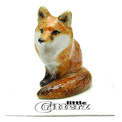 ➸ LITTLE CRITTERZ Forest Animal Miniature Figurine Fox Sitting Brush