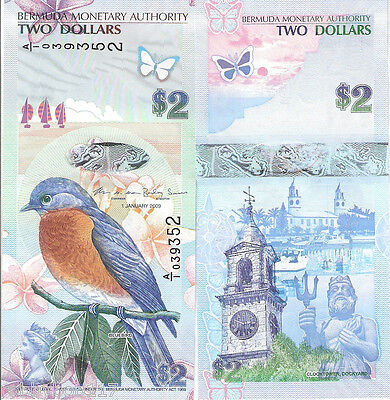 BERMUDA $2 Dollars Banknote World Money Currency BILL Caribbean p57 Note Bird