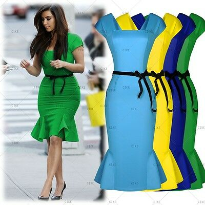 Womens Sexy Peplum Bodycon Pencil Skirt Belted Falbala Prom Work Party Dresses