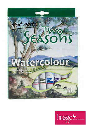 Pack of 18 Mont Marte Two Seasons Watercolours 12 ml PMHS0001