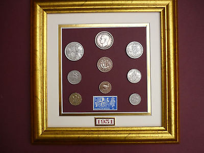 FRAMED 1951 COIN SET 65th  BIRTHDAY GIFT IN 2016