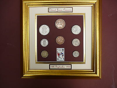 PERSONALISED FRAMED 1966 COIN SET WITH ENGLAND WINNERS STAMP 51st BIRTHDAY GIFT