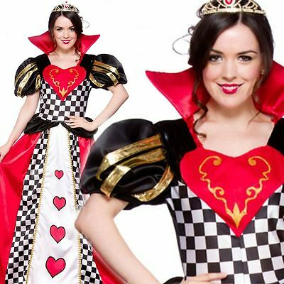 Adult Fairytale Queen Of Hearts Outfit Fancy Dress Costume Storybook Ladies Cute