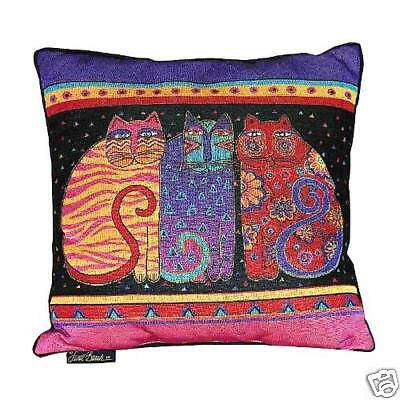 Laurel Burch Feline Cat Friends Cat Decorative Tapestry Throw Pillow NWT
