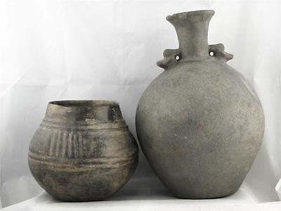 Antique Pair Of Gray Colored Pre Columbian Central American Pottery
