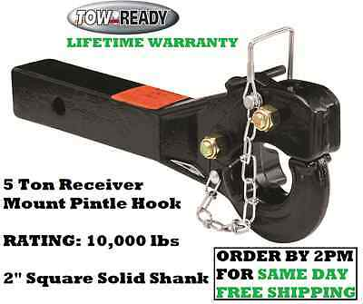 "TOW-READY 5 TON RECEIVER MOUNT PINTLE HOOK 10000 lbs 2"" SQUARE SOLID HITCH SHANK"