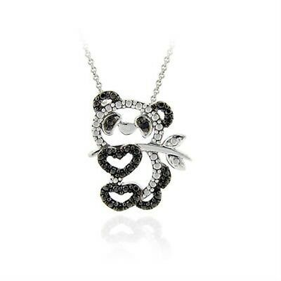 925 Silver Treated Black Diamond Accent Panda Bear Necklace