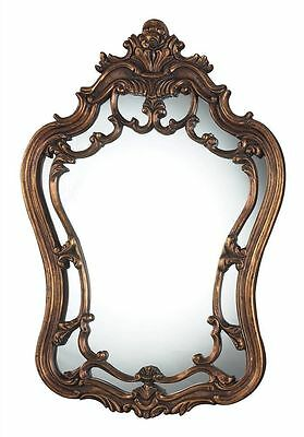 "Old World French Ornate Wall Mirror Antique Gold Bronze Reproduction Curved 36""H"