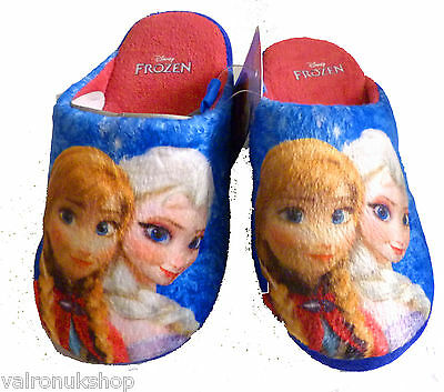 Childs Official Disney Frozen Mules Slippers Anna And Elsa Blue Sizes 8 - 13