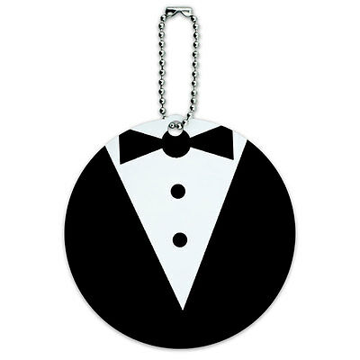 Tuxedo Wedding Bachelor Shower Round Luggage ID Tag Card Suitcase Carry-On