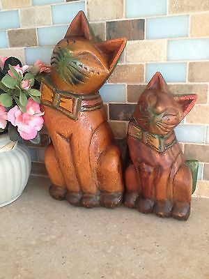 """A Pair Of Large Vintage Wooden Carved Cat Figurines 10"""" Tall"""