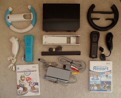 Nintendo Wii Mario Kart Bundle! System+2 Controllers+2 Games Lot Black Console