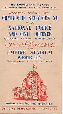 Combined Services vs National Police Football Programme 1945 Wembley (Rare)