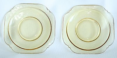 Madrid Amber Depression Glass Square Saucers Yellow