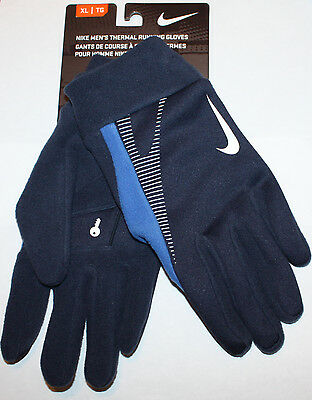 Nike Men's Navy/Blue Accents Thermal Running Gloves size choices **