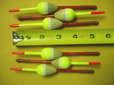 WHITE  WITH YELLOW STRIPE PEAR  SHAPE 6 SLIP TYPE BALSA FLOATS SMALL RED