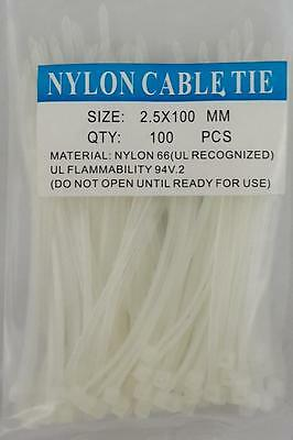 """4"""" White Nylon Cable Tie Zip Heavy Duty Plastic Wire - Pack of 100pcs"""