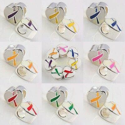 Hot Sale Enamel Ribbons Cancer Awareness Heart European Spacer Big Hole Beads